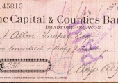 Capital & Counties Bank cheque 1912