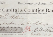 Capital & Counties Bank cheque 1896