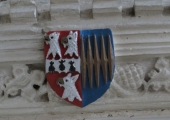 arms of Tropenell and Percy, Great Chalfield church