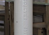 Cast iron stanchion, the Armoury, Silver Street