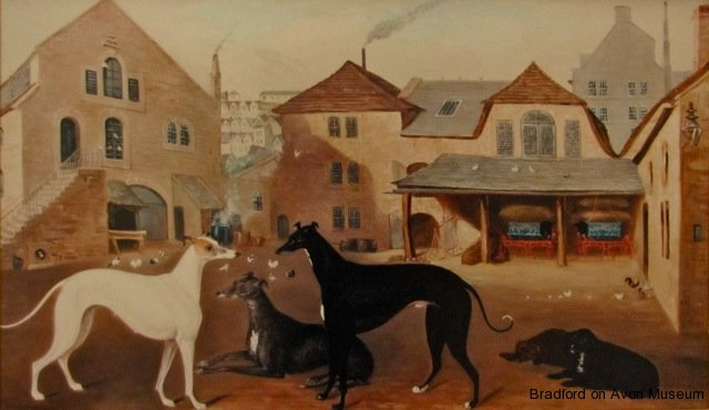 Timbrell's Yard, oil painting attributed to Samuel Spode, Bradford on Avon, Wiltshire