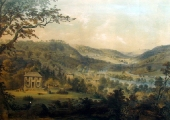 Limpley Stoke valley, lithograph by Elizabeth Tackle