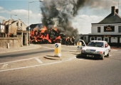straw bale fire, Mount Pleasant, Bradford on Avon, Wiltshire 1993