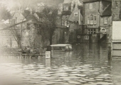 Flood at the back of the Swan, Bradford on Avon, probably 1963