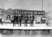 Soldiers on Bradford Station platform