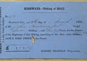 Holt Highways rate receipt