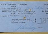 Bradford Union poor rate receipt