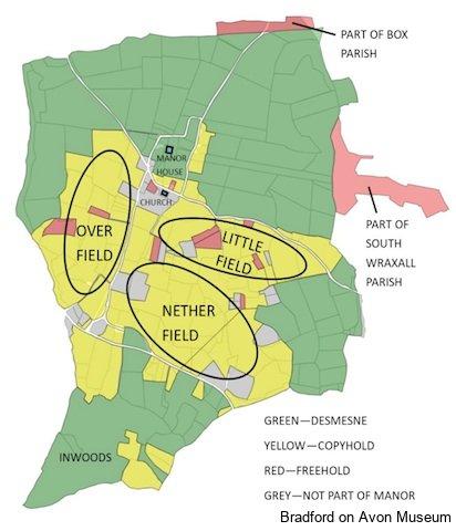 map of Elizabethan Monkton Farleigh