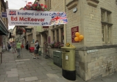 golden post-box celebrating an Olympic gold medal for Bradford\'s Ed McKeever