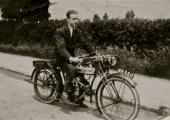 Jim King on a Douglas motorcycle 1924