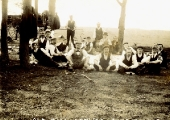 Picnic of workers from the Old Mill, c1900