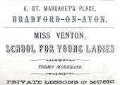 Miss Venton's school advertisement 1887