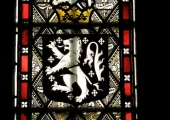 Long arms, stained glass, South Wraxall church