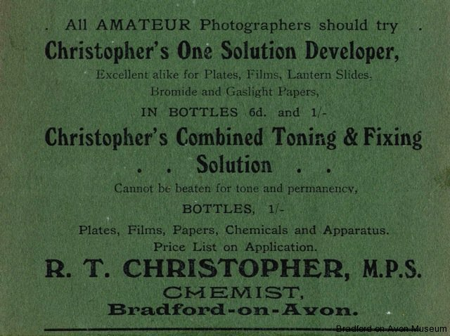 Christopher photographic chemicals advertisement