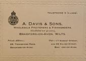 A. Davis & Sons trade card