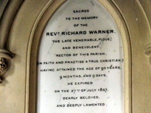 Memorial to Richard Warner in Great Chalfield church