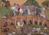 Embroidery panel showing King John crossing the bridge