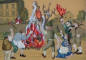 Bonfire scene from embroidery panel
