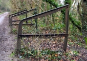 Rack for stop planks, made of old Avon & Gloucestershire tramway rails Kennet & Avon Canal