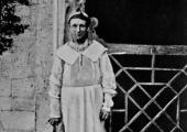 farmer Chard, of Barton Farm, Bradford on Avon, dressed for milking