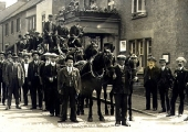 Firemen\'s outing by horse-drawn charabanc