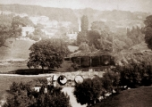 A view with the original timber railway bridge, Bradford on Avon