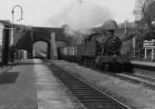 GWR paririe tank with coal wagons at Avoncliff
