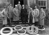 Motor Department staff with tyres, 1920