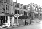 Demolition of Willson\'s chemist shop, Bradford on Avon 1958