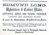 Edmund Long advertisement, Bradford on Avon