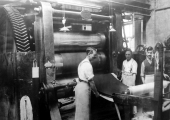 Callendering machine at Spencer Moulton rubber works