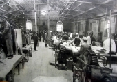 Mixing shop at Spencer Moulton rubber works 1918