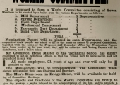 Poster about a works committee 1918